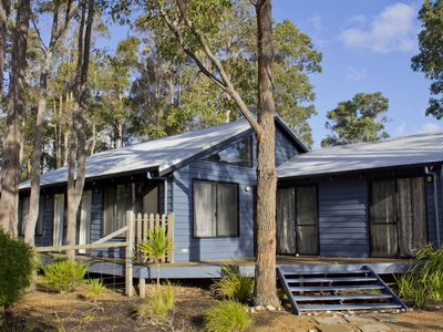 Front view. Surrounded by native gum trees