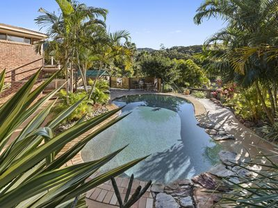 Sparkling in ground Pool with view of the Great Dividing Range