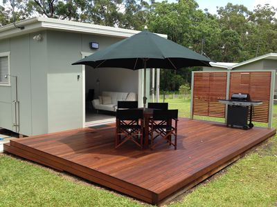 Large deck with BBQ, dining & outdoor shower