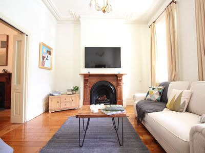 A sunlit living room with Smart LED TV