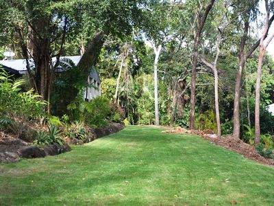House with verandas set on 1800 metres of private garden and rainforest.