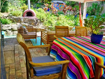 Make your own pizzas in the outdoor kitchen and entertaining area