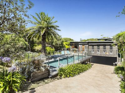 Front of house, pool & garden