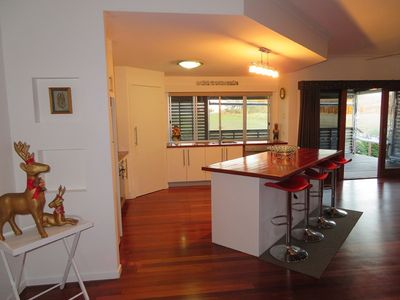 Large fully equipped kitchen - with window patio access