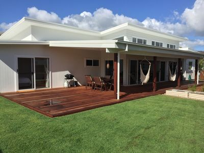Private yard and huge entertaining deck with BBQ, hammocks and bar fridge