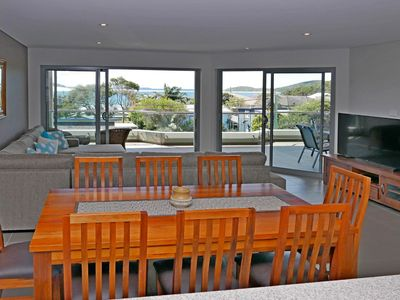 A modern spacious apartment with stunning views across Fingal Bay