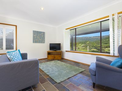 Lounge room with view of Foxground Valley