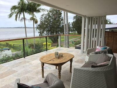 Large outdoor entaining overlooking Tuggerah Lakes