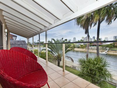 Scenic upstairs balcony overlooking the Gold Coast canal.