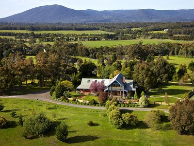 Aerial view of the lodge and Mount Macedon