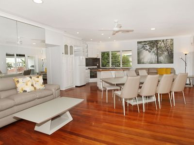 Spacious lounge, dining and kitchen in upstairs unit