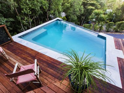 Large private and unique outdoor pool and deck.