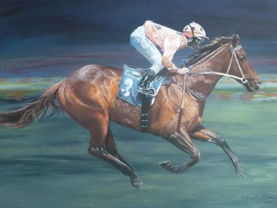 Black Caviar features in The Stables. Original art work by Jessie Ellery.
