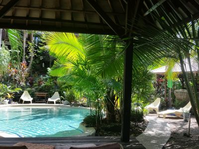 Relaxing by the pool - Bali hut