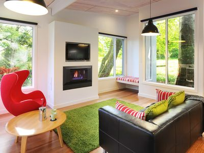 The Gallery living room with gorgeous farmland views