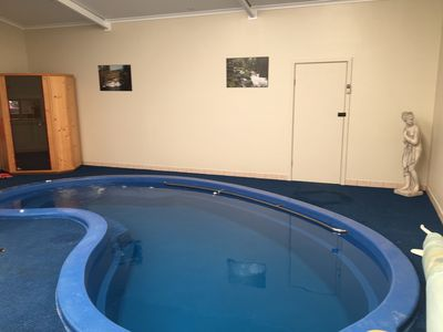 After having a sauna, take a dip in solar heated indoor pool