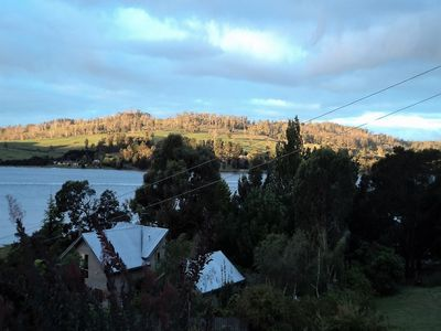 Afternoon sun on the Tamar River hillside opposite Brady's View B&B