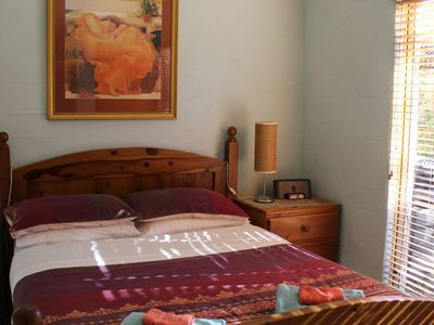Lovely large air conditioned bedroom with a warm comfy bed.