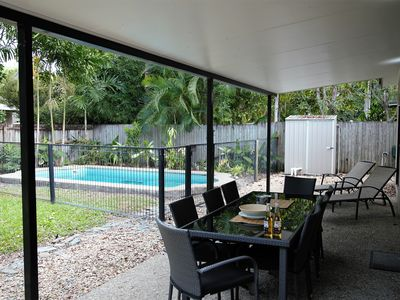 Outdoor entertaining area and swimming pool