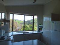 Kitchen with view up the river
