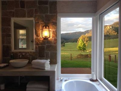Private, luxurious bathroom with amazing views