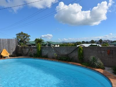 Yes the pool is just as inviting in person at our Amelia Street Gladstone Home.