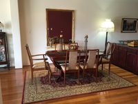 Formal dining area extends to 8 seats