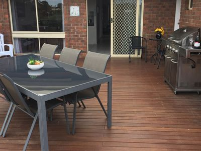 Large balcony perfect for Alfresco dining. Relax and Watch the Ships.