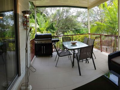 Front deck with BBQ overlooking the park.