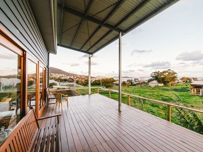 The view over Albany and the harbour from the front deck evolves every day.