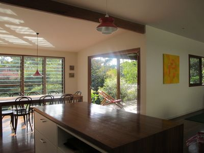 Generous open plan, light filled kitchen, living and dining area