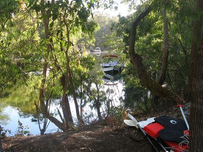 Easy access to the kayaks and the canoe - just ask