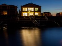 Night views of Stately Moorings from across the marina