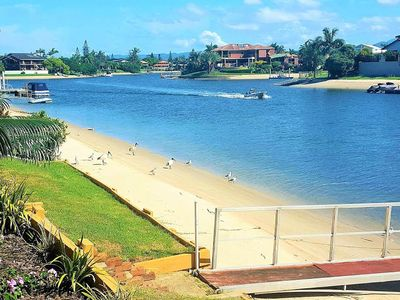 Sandy Gold Coast canal, perfect for a morning swim or kayak