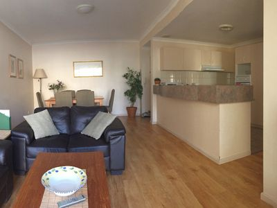 Open plan living area and dining