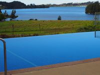 Our swimming pool with the inlet in the background