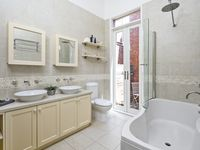 Ensuite with shower only (no bath) and double vanity