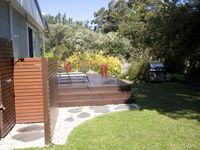 Outdoor hot/cold shower, sunbaking deck and BBQ.