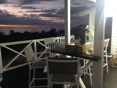 Back deck at night overlooking the Indian Ocean