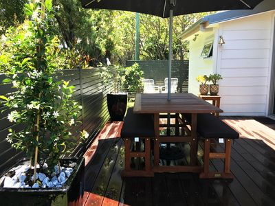 Relax on the deck and expect visits from our resident rainbow lorikeets