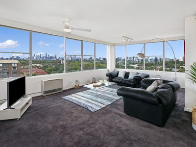 lounge room with spectacular city skyline views