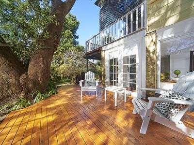 North facing sunny deck totally private and secluded amongst the trees