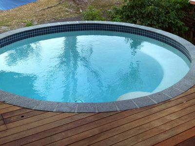 Round pool on entertaining deck
