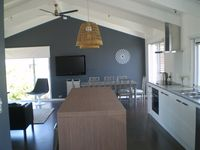 Anglesea Beach House kitchen through to dining area view