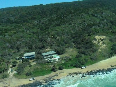 Aerial photo, house on the left.