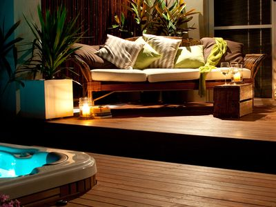 private deck with heated spa