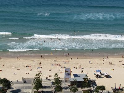 View looking down on Surfers paradise beach.