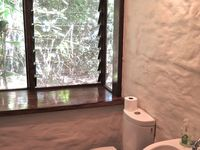 mud brick walls give character to bathroom 1 with toilet & shower