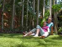 Guests relax in private area in the garden