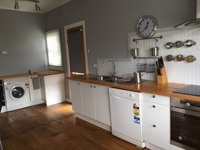Kitchen area with a fully functioning kitchen
